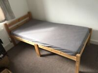 Single Wooden Bed (very strong) (new memory foam mattress)