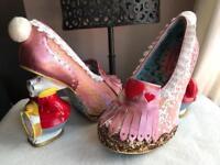 Irregular choice Alice in wonderland pink white rabbits size 6/39-5/38