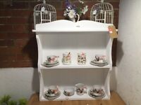 A beautiful small white kitchen dresser top,ideal wall hanging display