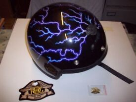 Harley crash helmet and badges
