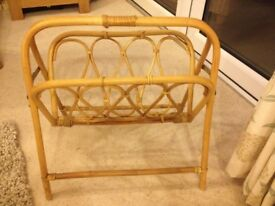 Magazine Rack or Paper Rack in bamboo and cane.