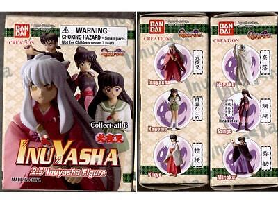 Bandai INU YASHA Gashapon COMPLETE 6 Trading Figure Set SANGO InuYasha KAGOME