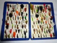 100 TROUT FLIES IN A FOX BOX, LURES, WET FLIES, NYMPHS AND BUZZERS