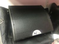 """Pair of W Audio SM-8 coaxial wedge monitor speakers with carry bags. 8"""" driver, 120w RMS"""