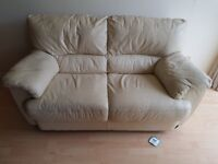 Cream leather sofa, good condition (new sofa forces sale) £120 ono