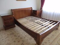 Bedroom set of Louis-Philippe, Cherry. Bed and 2 Bedside Tables