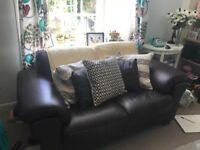 Dark brown leather sofa £75 URGENT
