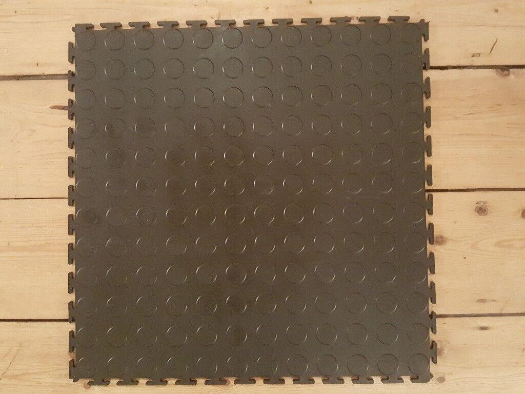 New Black Heavy Duty Interlocking Vinyl Floor Tiles In - Interlocking vinyl flooring tiles
