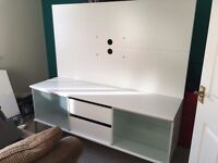 TV Unit, 2 drawers, 4 shelves, white Ikea. FREE to good home! Good condition.
