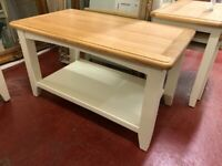 DELIVERING New built Georgia oak and ivory Small coffee table £149