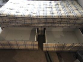 Single divan bed with 2 drawers under the bed.