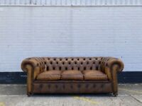 Beautiful Vintage Leather 3 Seater Chesterfield Sofa