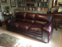 Barker and Stonehouse Brown Leather 3 Seater Sofa