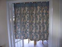 flower pattern, eye let, duck egg blue curtain