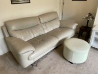 Comfortable 3 seater leather sofa and footstool