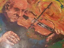 Jim McDonald (artist) - framed oil painting - man playing violin