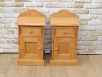 Bedside Cabinets Pine Welsh Unique wood Tall x 2 (Delivery)