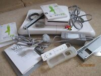 Wii Console, board, wheel, games