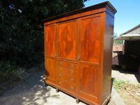 Whiteleys 5 piece antique 1940s mahogany solid wardrobe
