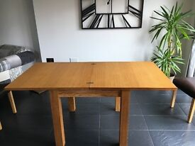 Oak extendable table & 2 chairs