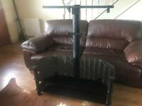 Black glass cantilever tv stand