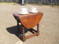 Quality Vintage Solid Oak Dropleaf Side Coffee Table