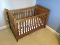 Mamas and papas solid oak cot bed