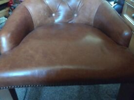 BEAUTIFUL SOFT LEATHER HIGH QUALITY DESK CHAIR HAND MADE UPHOLSTERED