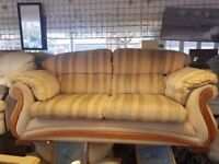 2 Seater Sofa / Striped Fabric / Wooden Features / Yellow and Green