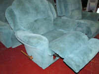 SOFA SUITE THREE SEATER WITH TWO RECLINER ARMCHAIRS GOOD CONDITION FREE DELIVERY IN LIVERPOOL