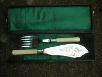 AN EDWARDIAN CAKE KNIFE AND FORK IN CASE VERY NICE
