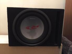 Alpine type r 12 inch subwoofer in slot box and alpine 1600 watt class D amplifier and wiring kit