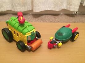 Teenage mutant ninja turtles lair,vehicles and figures.