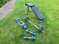 Inclined Weight Bench and Weights