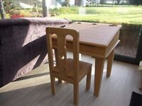 A beautifully made solid American oak childrens desk and chair
