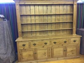 Old Pine Dresser with open rack, four deep drawers and four doors to cupboard base