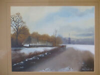 Vintage Original Landscape Painting by Bristol Artist Mary Shaw Nicely Framed Winter Scene Art