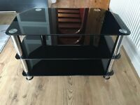 TV table glass black