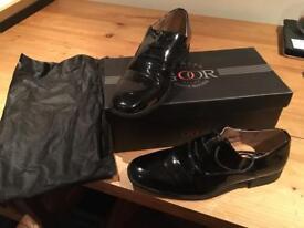 Boys size 3 black patent wedding/dress shoes