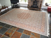 Large rug, 2750 x 3.600m, mainly brown/cream, good condition
