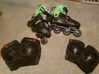 Roller Blades Size 1-3 (EU 34-37) with Elbow and Knee Pads