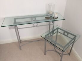 Glass Console Table and Side Table, from John Lewis. Matching, can sell as pair or separately.