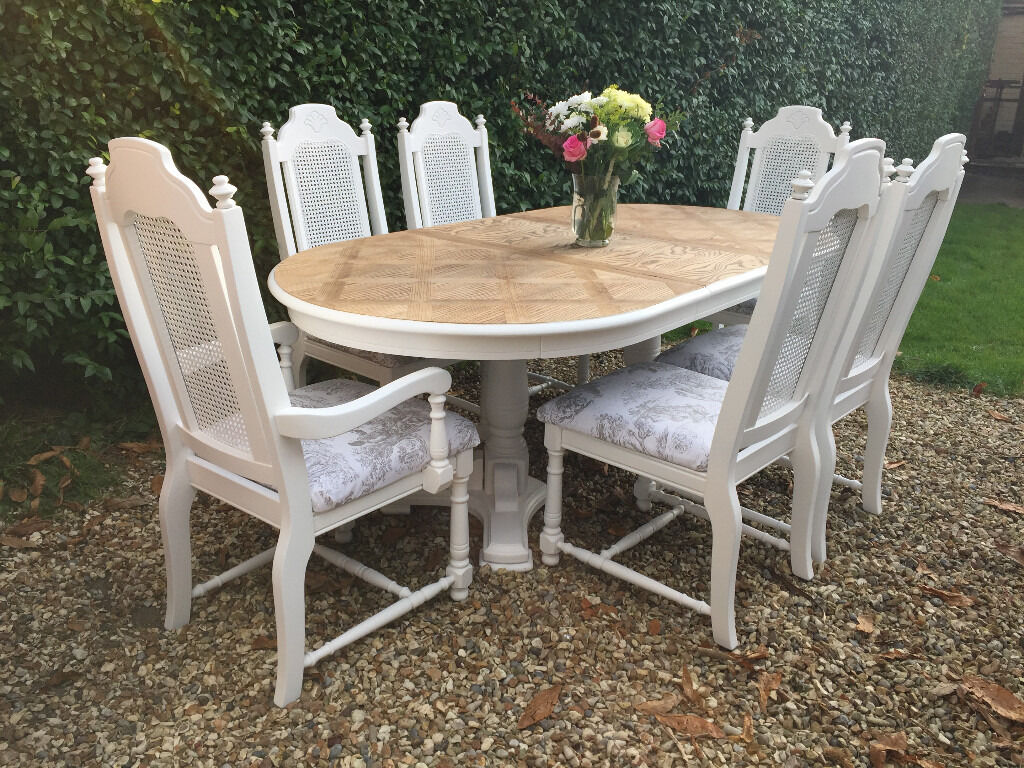 Beautiful French Bergere Shabby Chic Painted Dining Table 6 Chairs