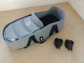 Bugaboo Bee 3 (aka Bee3) carrycot with base and adaptors in Grey Melange - Good condition