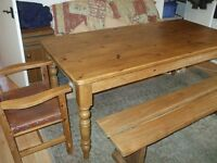 table, bench and chairs . 6x3 ft table ,5 ft bench and two chairs