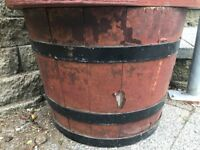 WOODEN BARREL POT STAND FOR GARDEN, CONSERVATORY OR PATIO