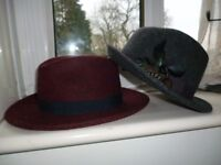 Seasalt Fedora hat made in Italy drak red, and accessorize trilby hat dark grey. Both medium