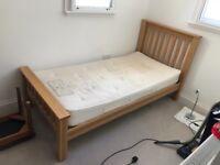 Solid oak bed (single)
