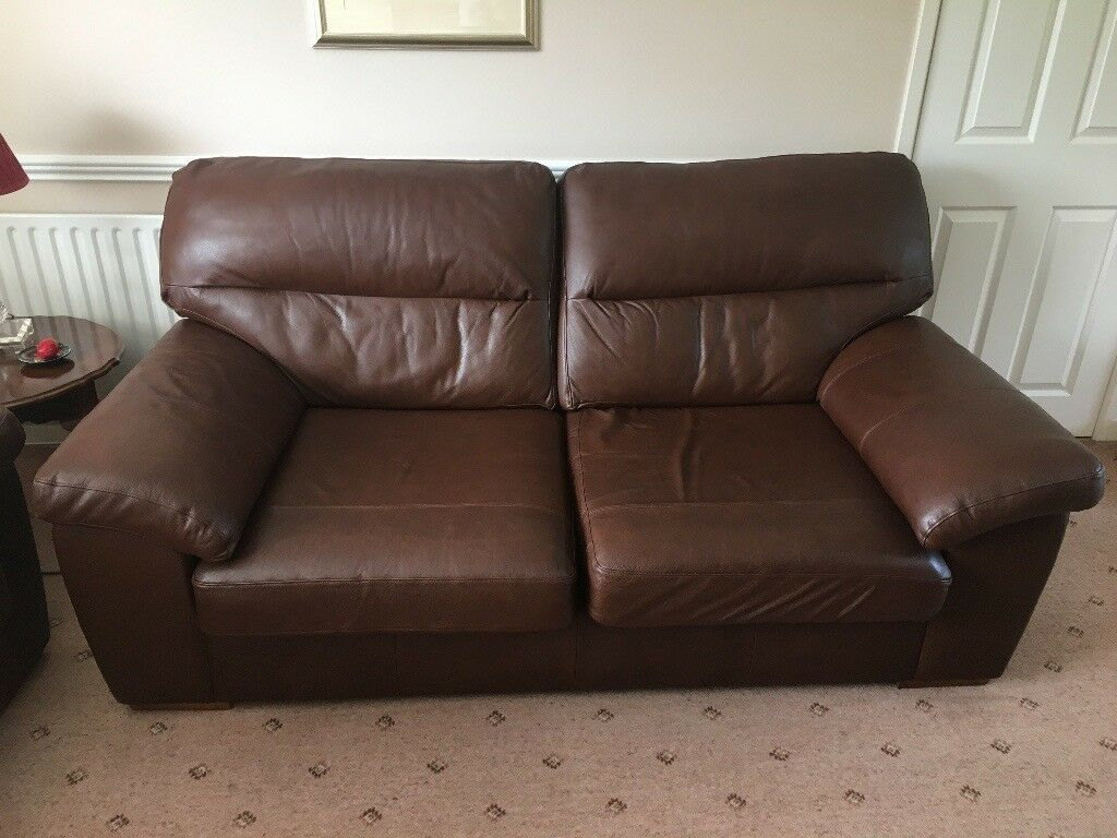 Sofa M & S leather large 3 seater & 2 x armchairs | in ...