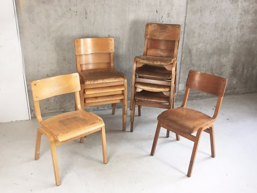Set Of 10 Mixed Vintage Mid Century Bentwood Stacking School Cafe Dining Chairs